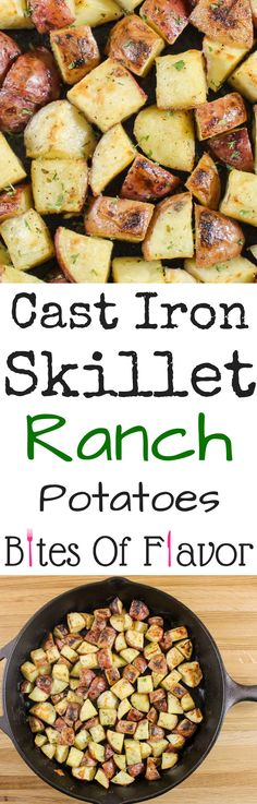 Cast Iron Skillet Ranch potatoes-Unique & HEALTHY twist on breakfast skillet potatoes.  Baked, crunchy potatoes coated in ranch dressing mix.  Weight Watcher friendly recipe. www.bitesofflavor.com