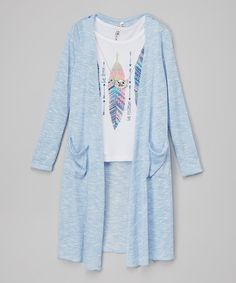 Love this Beautees White Feather Tee & Blue Long Cardigan - Girls by Beautees on Katies Fashion, White Feathers, Ballet, Long Cardigan, Kimono Top, Bell Sleeve Top, Daughter, Tees, Design