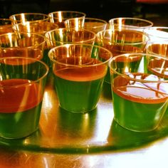 Caramel apple Jell-O shots:  1 cup of apple cider 1 Knox packet Heat and stir untill dissolved. Remove from heat and completely cool. Then add: 1/2 cup of apple pucker 3 drops of green food dye Pour into cups and refrigerate over night. Next day add: A Carmel ice cream topper