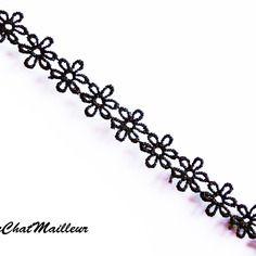 1 mètre de ruban dentelle en fleur noir 15mm de large customiser mercerie  (n001)