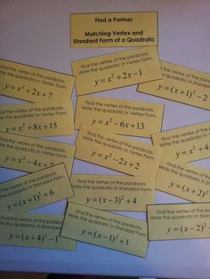 Match standard form with vertex form of quadratics equations