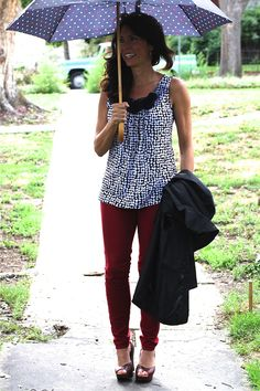 Mrs. American Made — Rainy red jeans #madeinUSA outfit details:Carol...