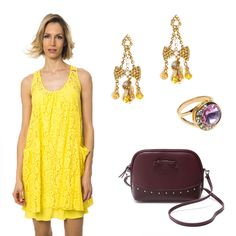 Combine this yellow dress from with this purple bag from and those gorgeous jewelry from