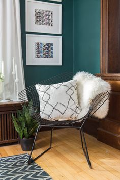 Sheepskin and dark teal paint