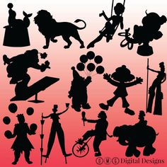 12 Circus Silhouette Images Clipart Images by OMGDIGITALDESIGNS