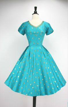 Vintage 1950s turquoise blue and gold metallic embroidery dress