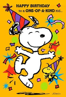 Send happy birthday wishes to a special kid with this birthday greeting from Hallmark. Card features Snoopy and Woodstock sending a birthday wish to a one-of-a-kind kid. No birthday gift is complete without a Hallmark card! Happy Birthday Snoopy Images, Birthday Wishes For Kids, Cute Happy Birthday, Happy Birthday Wishes Cards, 21 Birthday, Sister Birthday, Birthday Quotes, Snoopy Pictures, Snoopy And Woodstock