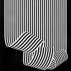 Dissociazione dal Bordo, 1969, Archivo Manuela Grignani Sirtoli (Estorick). A black and white painting by iconic designer Franco Grigani