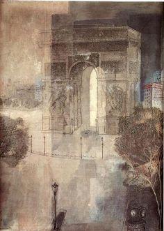 Arc de Triomphe, 1929 by Jury Annenkov (1889-1974, Russia)