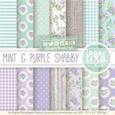 Sfondo Carta Digitale Shabby cottage Chic Rose Viola verde blu