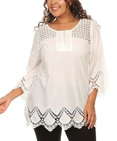 Another great find on #zulily! White Lace-Trim Button-Up Top - Plus #zulilyfinds