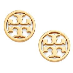 Tory Burch Circle Logo Stud Earrings ($75) ❤ liked on Polyvore featuring jewelry, earrings, shiny gold, polish jewelry, logo jewelry, 18 karat gold jewelry, silver tone earrings and post earrings