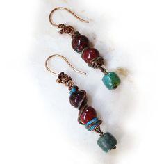 Turquoise & Jasper Rustic Wire Earrings