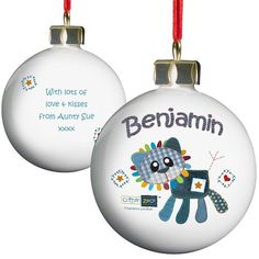 Personalised Cotton Zoo Christmas Bauble - Denim the Lion  from Personalised Gifts Shop - ONLY £10.99