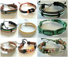 Leather surfer style bracelet wristband unisex men woman boys girls UK SELLER £2.99