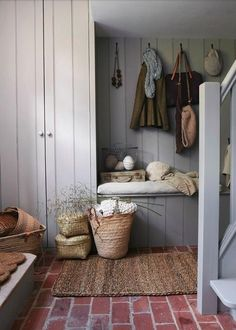 House Board Interior Design Trends For 2020 Mudroom bench under window. Basket for each pers House basket bench Board Design Interior mudroom Mudroom bench under window pers Trends Window Floor Design, House Design, Design Design, Design Trends, Brick Flooring, Farmhouse Flooring, Brick Pavers, Dark Flooring, Garage Flooring