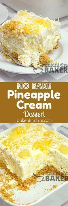 Easy no-bake summery dessert with a creamy pineapple filling. – Susan Pointer Easy no-bake summery dessert with a creamy pineapple filling. Easy no-bake summery dessert with a creamy pineapple filling. Baked Pineapple, Pineapple Desserts, Pineapple Recipes, Crushed Pineapple, Pineapple Pie, Pineapple Cheesecake, Cheesecake Bars, Pineapple Souffle Recipe, Hawaiian Dessert Recipes