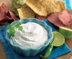 Jalapeno Dip with Cilantro and Lime - Daisy Brand - Sour Cream & Cottage Cheese Mexican Sour Cream, Daisy Sour Cream, Sour Cream Dip, Lime Cream, Lime Recipes, Mexican Food Recipes, Keto Recipes, Vegetarian Recipes, Cream Cheese Dips