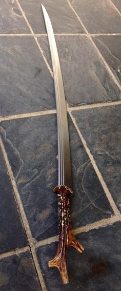 """alaeswords: """" Alae Swords' Steppe Sabre w/ Antler Grip (Click Images For Better Resolution) Hi All! So I've been working on, among other things, a saber in the roughly Circassian style with an antler. Steampunk Weapons, Medieval Weapons, Swords And Daggers, Knives And Swords, Tactical Swords, Sword Drawing, Sword Belt, Ninja Sword, Guns And Ammo"""