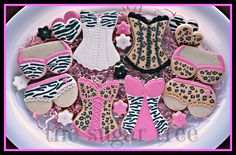 lingerie shower animal print cookies by The Sugar Tree