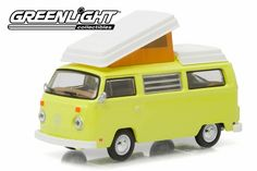 Greenlight Club V-Dub 3 1974 Volkswagen Type 2 Campmobile Yosemite Yellow From Sportsamerica Sports Cards. Volkswagen Westfalia, Volkswagen Type 2, Rubber Tires, Diecast Model Cars, All Cars, Vw Beetles, Club, Yellow, Exterior