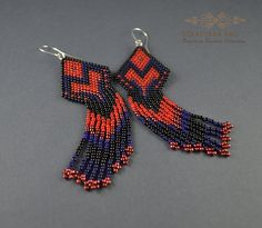 FREE SHIPPING Beaded Earrings Native American Style, Long Dangle Earrings, Long Earrings With Fringe, Beadwork, Native American  Long, glamorous earrings Indian style. They are made of high quality toho beads in colors of black, African red, sweet red and dark blue. Their total length is 10cm. Suspended on copper hooks.  This beaded earrings will be perfect to create a unique look for yourself both for special occasion and every day. It is a great addition to the evening dress as well as…