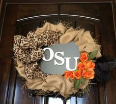 Shabby Chic Oklahoma State Wreath by ThePersnicketyPetal on Etsy, $55.00