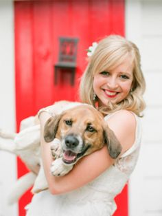 bride with dog 275x367 Inspiration: Dogs at Weddings