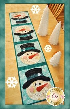 """What a fun way to celebrate winter! This quick and easy table runner pattern features easy patchwork and simple applique. Finished size of 12 1/2"""" x 53"""". Designed by Jennifer Bosworth of Shabby Fabrics. Add the Olfa 45mm Rotary Cutter below for precision cutting!"""