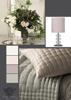 soft champagne tones for the bedroom, silk/cotton quilted cushion and throw from The White Company