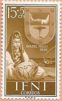 Sello Ifni de 15+5  céntimos, Día del Sello, 1956 - Portal Fuenterrebollo