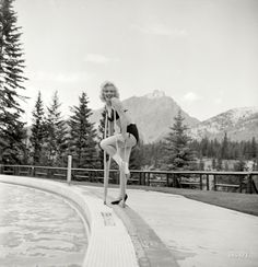 Marilyn Monroe in 1953 at the Banff Springs Hotel in Alberta, among those other majestic peaks known as the Canadian Rockies. She sprained her ankle filming River of No Return. Photo by John Vachon for Look magazine.