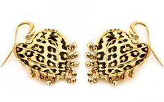 """Exkluzívne náušnice v motíve """"leopardie srdcia"""" zo žltého 14 karátového zlata"""
