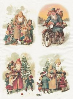Rice Paper for Decoupage Decopatch Scrapbook Craft Sheet Vintage Friendly Santa