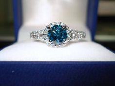 Blue Diamond Engagement Ring, Wedding Ring, Fancy Bridal Ring, Carat White Gold Halo Pave C Diamond Wedding Rings, Bridal Rings, Diamond Engagement Rings, Halo Engagement, Blue Diamond Rings, Halo Diamond, Ruby Wedding, Solitaire Rings, Blue Wedding
