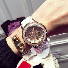 Top Luxury Austrian Crystal Ladies Quartz Ceramic Watches Fashion Rose Gold Rotatable Womens Dress Watch relojes mujer