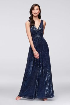 Picturing your bridal party in pretty sequin bridesmaid dresses? Shop David's Bridal sparkly bridesmaid dresses in gold & silver all in short & long styles! Empire Waist Bridesmaid Dresses, Sparkly Bridesmaid Dress, One Shoulder Bridesmaid Dresses, Davids Bridal Bridesmaid Dresses, Bridal Dresses, Prom Dresses, Bridesmaids, Navy Gown, Mermaid Dresses