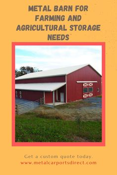 Do you need a steel #barn for farming and agricultural storage needs? Metal Carports Direct of NC specializes in metal building installation nationwide. Get a custom quote today. Toll-Free: 844-337-4137 #metalbarns #metalcarports #metalgarages Metal Carports, Metal Garages, Metal Barn Kits, Prefab Metal Buildings, Rv Shelter, Steel Barns, Farming, Quote, Storage