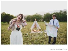 Ojai Wedding Photos in a Teepee || Totally not my style but this an adorable picture just the same!