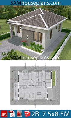 House plans with 2 bedrooms - Sam House Plans - House plans with 2 bedrooms – Sam House Plans - Micro House Plans, Dream House Plans, Small House Plans, House Floor Plans, Simple House Design, Minimalist House Design, Small Home Design, House Layout Plans, House Layouts