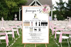 Wedding Silhouette Poster, Printable Wedding Timeline Silhouette Program, Bridal Party Silhouette Wedding Program LARGE PARTY, YOU Print