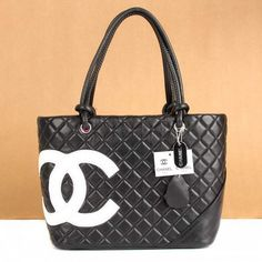 Chanel Cambon White Cc Logo Black Shoulder Bags A25169