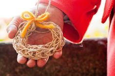 Finger Knitting Ornament Wreath and Thanks
