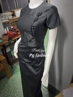 Traditional Dresses Designs, Traditional Outfits, Simple Formal Dresses, Dresses For Work, Stylish Tops For Women, Myanmar Dress Design, Dress Outfits, Dress Up, Myanmar Traditional Dress