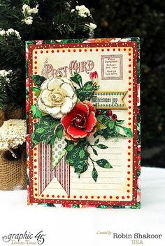 Robin Shakoor, Product by Graphic 45, A Christmas Carol Collection, Christmas Joy Greeting Card.