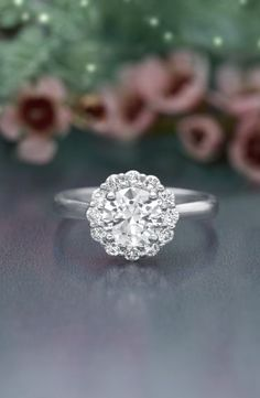Diamond halo rings are a classic showstopper.