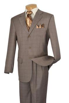 SKU#KA3967 Mens Three Button Window Pane Design Suit $199