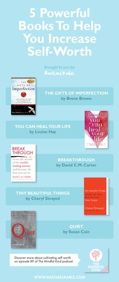 5 Great Books About Self-Worth! #selfworth #selfesteem #postive #books #happyreading