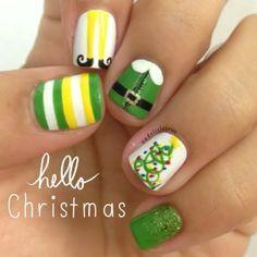 xmas nail art - elves