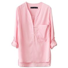 Pink Collar Solid Color Armbands Cuff Shirt ($28) ❤ liked on Polyvore